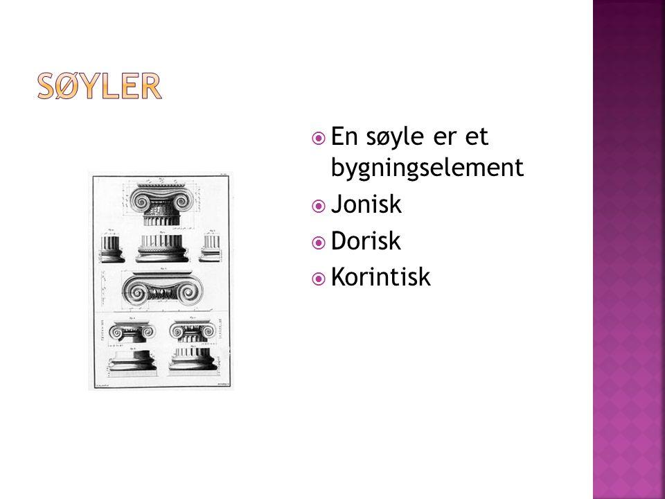  En søyle er et bygningselement  Jonisk  Dorisk  Korintisk