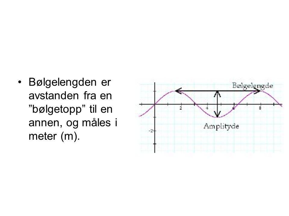 """•Bølgelengden er avstanden fra en """"bølgetopp"""" til en annen, og måles i meter (m)."""