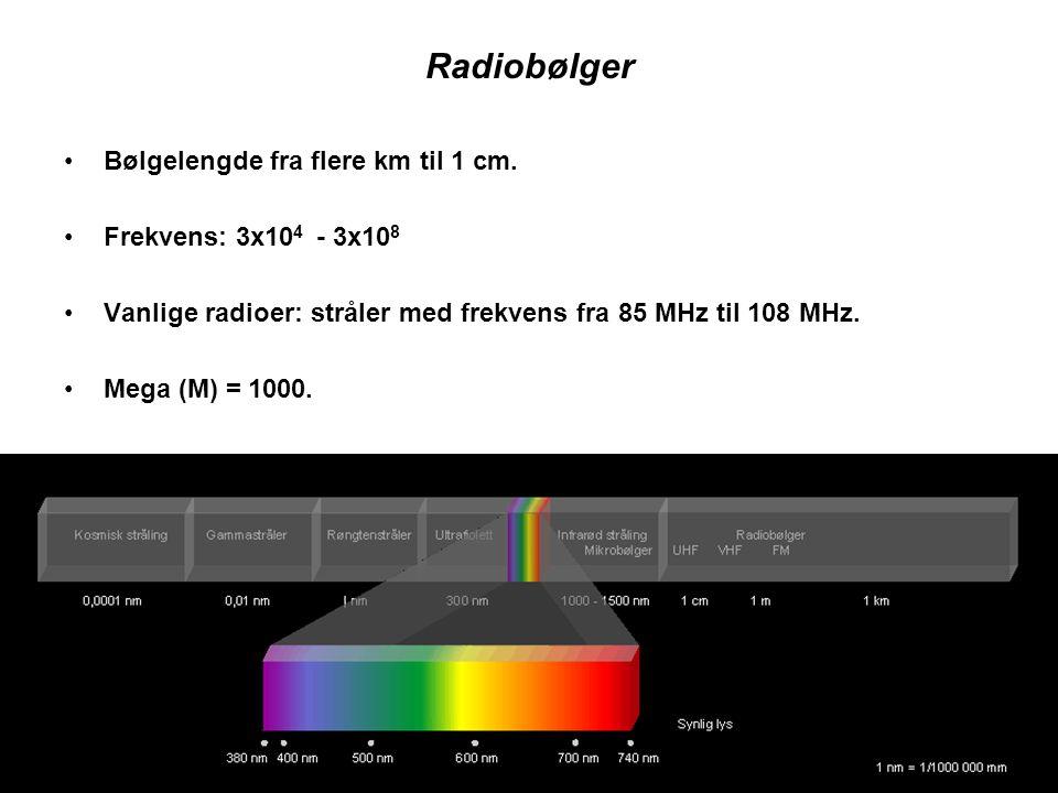 Radiobølger •Bølgelengde fra flere km til 1 cm. •Frekvens: 3x10 4 - 3x10 8 •Vanlige radioer: stråler med frekvens fra 85 MHz til 108 MHz. •Mega (M) =