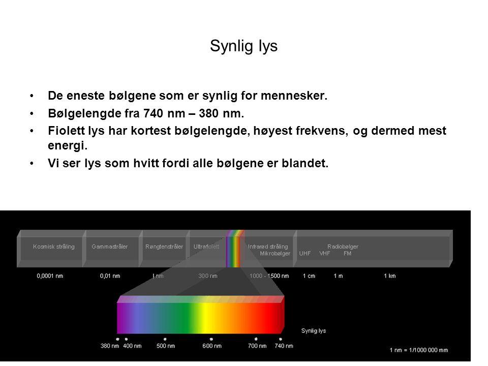 Synlig lys •De eneste bølgene som er synlig for mennesker. •Bølgelengde fra 740 nm – 380 nm. •Fiolett lys har kortest bølgelengde, høyest frekvens, og