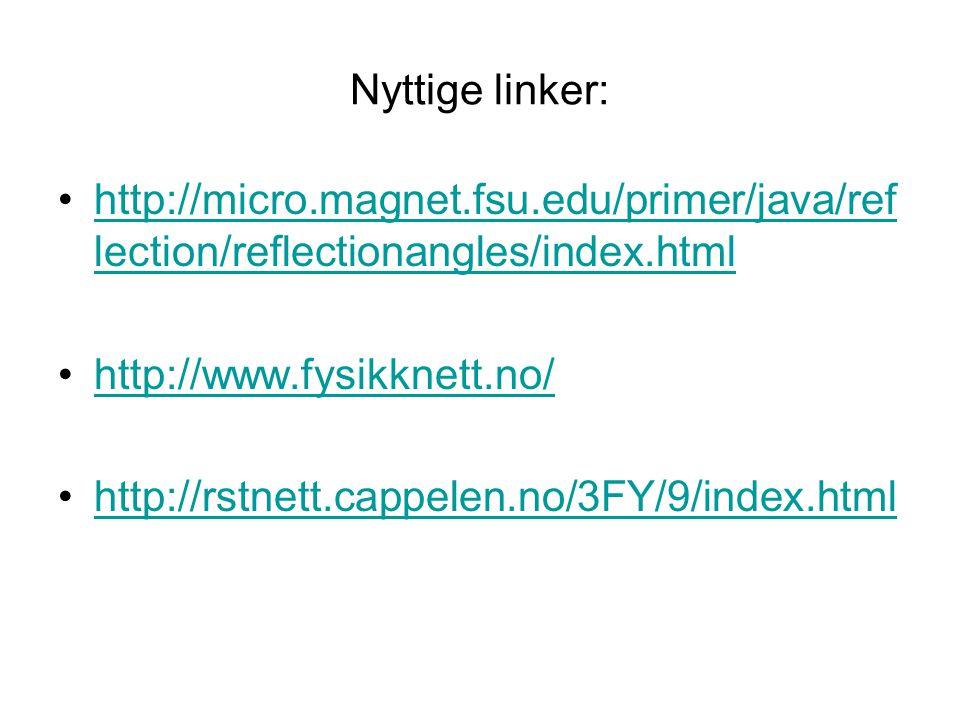 Nyttige linker: •http://micro.magnet.fsu.edu/primer/java/ref lection/reflectionangles/index.htmlhttp://micro.magnet.fsu.edu/primer/java/ref lection/re