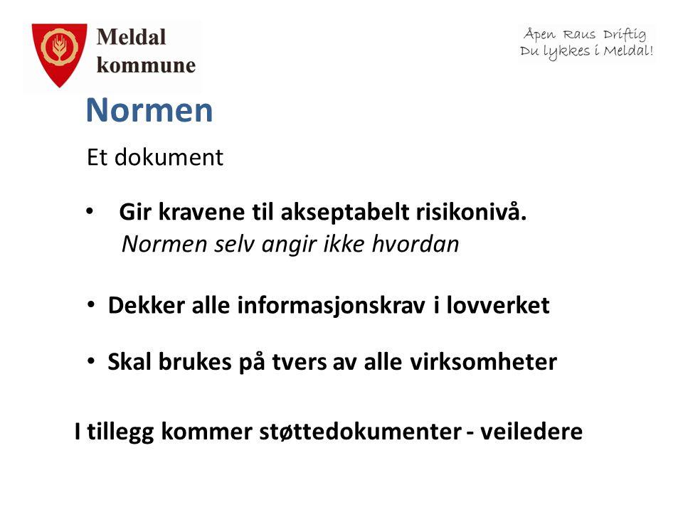 Normen Et dokument • Gir kravene til akseptabelt risikonivå. Normen selv angir ikke hvordan • Dekker alle informasjonskrav i lovverket • Skal brukes p