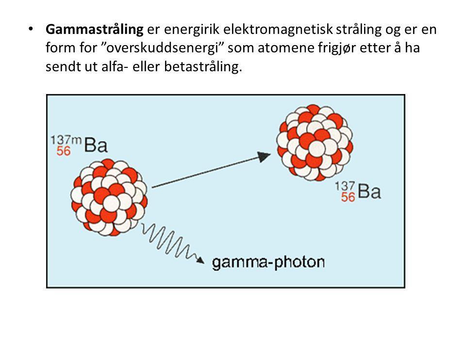 """• Gammastråling er energirik elektromagnetisk stråling og er en form for """"overskuddsenergi"""" som atomene frigjør etter å ha sendt ut alfa- eller betast"""