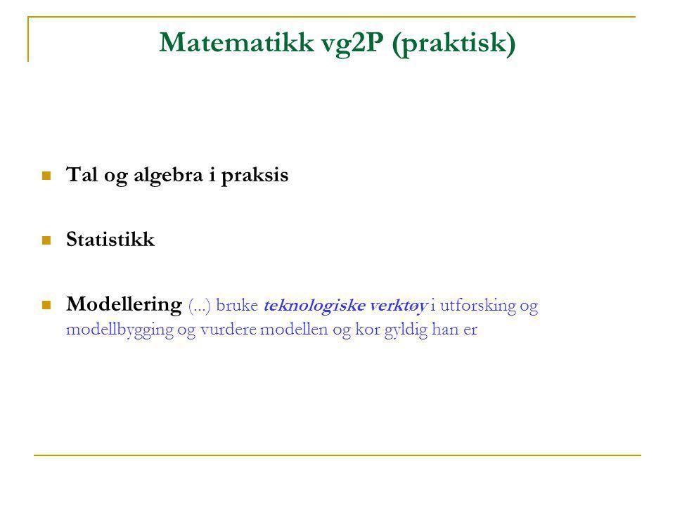 Matematikk vg2P (praktisk)  Tal og algebra i praksis  Statistikk  Modellering (...) bruke teknologiske verktøy i utforsking og modellbygging og vur