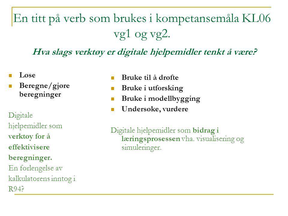 En titt på verb som brukes i kompetansemåla KL06 vg1 og vg2.  Løse  Beregne/gjøre beregninger Digitale hjelpemidler som verktøy for å effektivisere