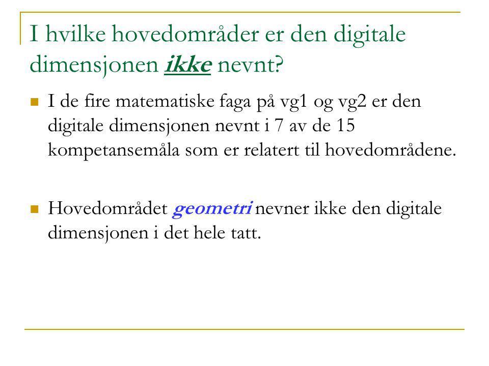 I hvilke hovedområder er den digitale dimensjonen ikke nevnt?  I de fire matematiske faga på vg1 og vg2 er den digitale dimensjonen nevnt i 7 av de 1
