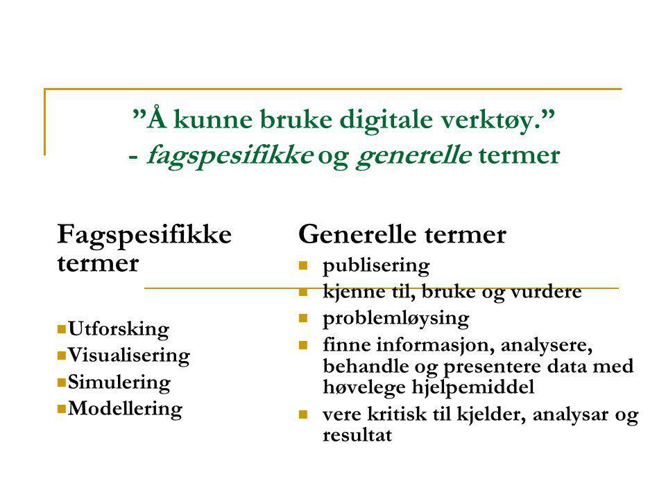 """""""Å kunne bruke digitale verktøy."""" - fagspesifikke og generelle termer Fagspesifikke termer  Utforsking  Visualisering  Simulering  Modellering Gen"""
