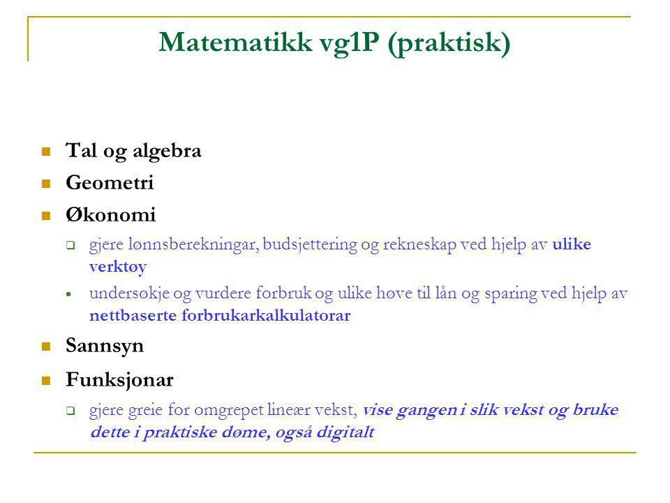 Matematikk vg1P (praktisk)  Tal og algebra  Geometri  Økonomi  gjere lønnsberekningar, budsjettering og rekneskap ved hjelp av ulike verktøy  und