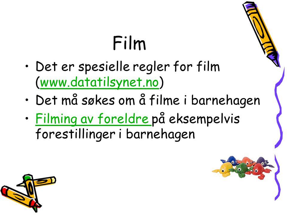 Film •Det er spesielle regler for film (www.datatilsynet.no)www.datatilsynet.no •Det må søkes om å filme i barnehagen •Filming av foreldre på eksempel