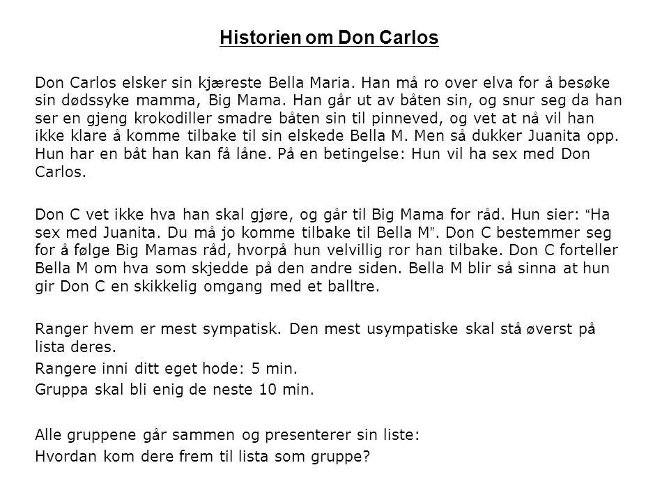 Historien om Don Carlos Don Carlos elsker sin kj æ reste Bella Maria.