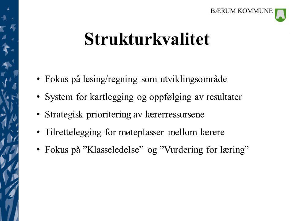 Kommunalsjefene Strukturkvalitet • Fokus på lesing/regning som utviklingsområde • System for kartlegging og oppfølging av resultater • Strategisk prio