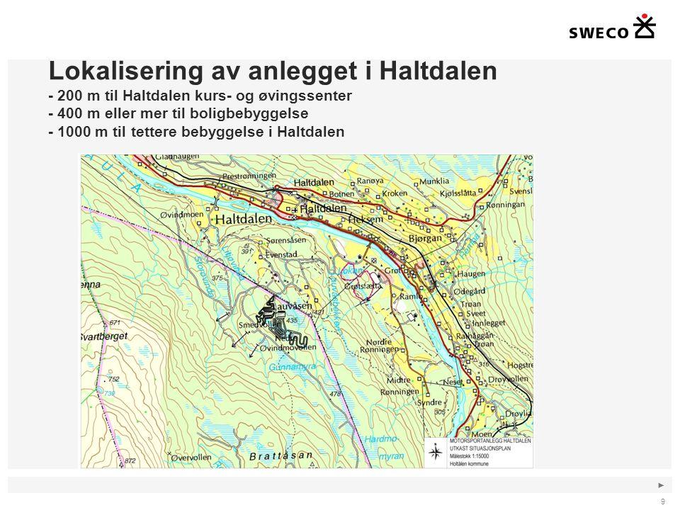 ► Lokalisering av anlegget i Haltdalen - 200 m til Haltdalen kurs- og øvingssenter - 400 m eller mer til boligbebyggelse - 1000 m til tettere bebyggel
