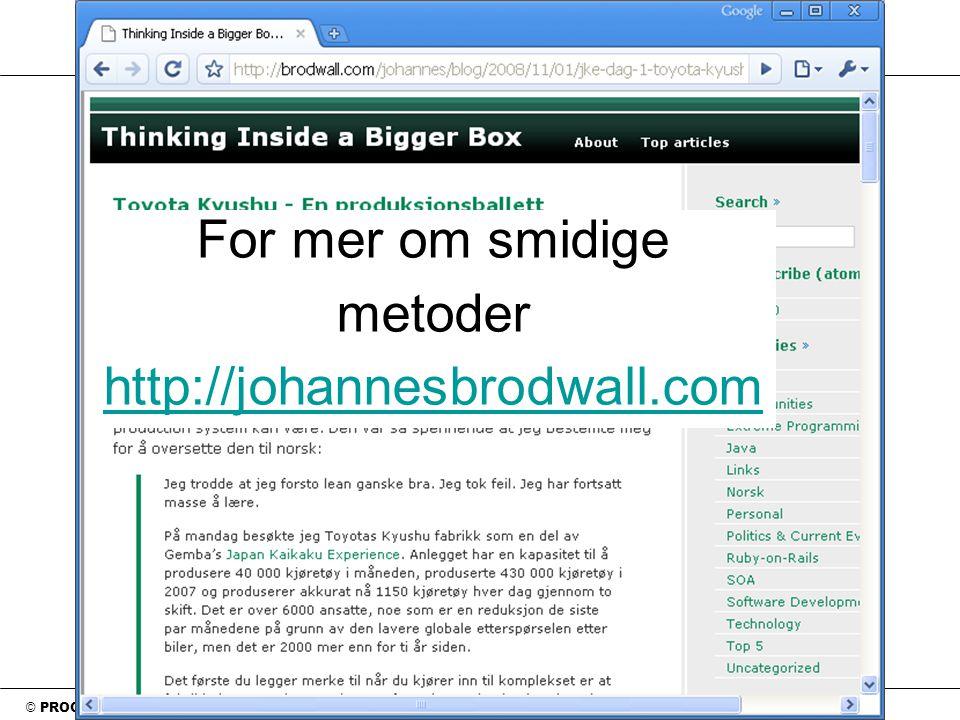 © PROGRAM UTVIKLING as For mer om smidige metoder http://johannesbrodwall.com http://johannesbrodwall.com