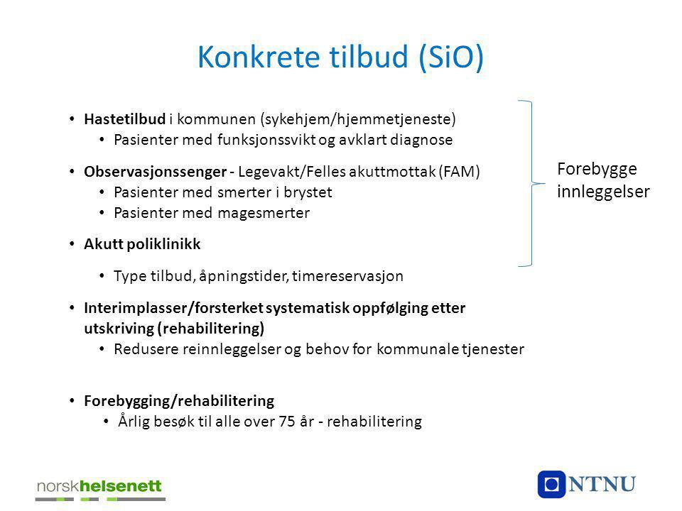 Konkrete tilbud (SiO) • Hastetilbud i kommunen (sykehjem/hjemmetjeneste) • Pasienter med funksjonssvikt og avklart diagnose • Observasjonssenger - Leg