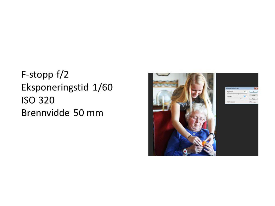 F-stopp f/2 Eksponeringstid 1/60 ISO 320 Brennvidde 50 mm