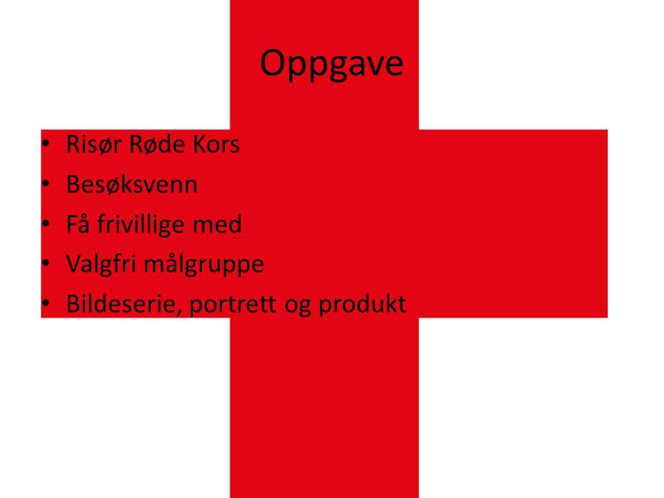 Oppgave • Risør Røde Kors • Besøksvenn • Få frivillige med • Valgfri målgruppe • Bildeserie, portrett og produkt