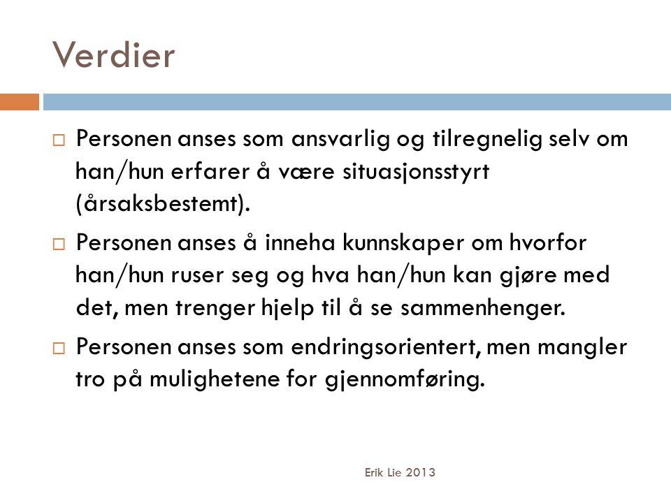 Verdier Erik Lie 2013  Personen anses som ansvarlig og tilregnelig selv om han/hun erfarer å være situasjonsstyrt (årsaksbestemt).  Personen anses å