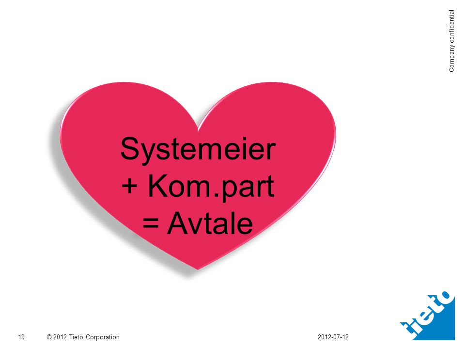 © 2012 Tieto Corporation Company confidential 19 2012-07-12 Systemeier + Kom.part = Avtale