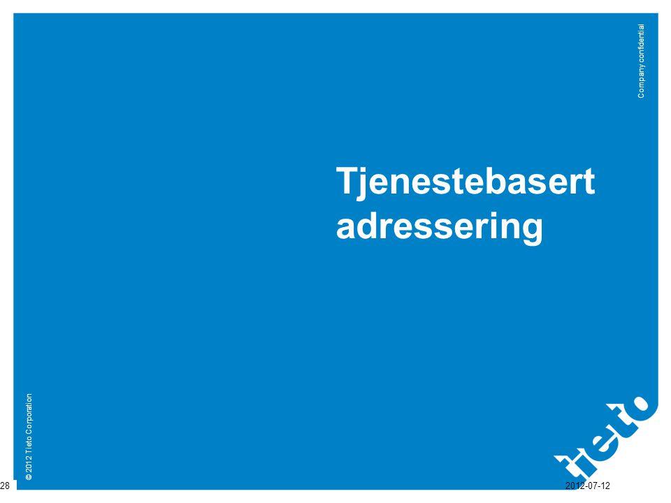 © 2012 Tieto Corporation Company confidential Tjenestebasert adressering 28 2012-07-12