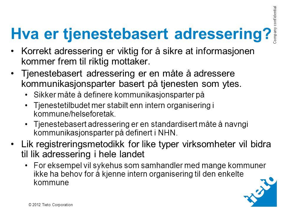 © 2012 Tieto Corporation Company confidential Hva er tjenestebasert adressering.