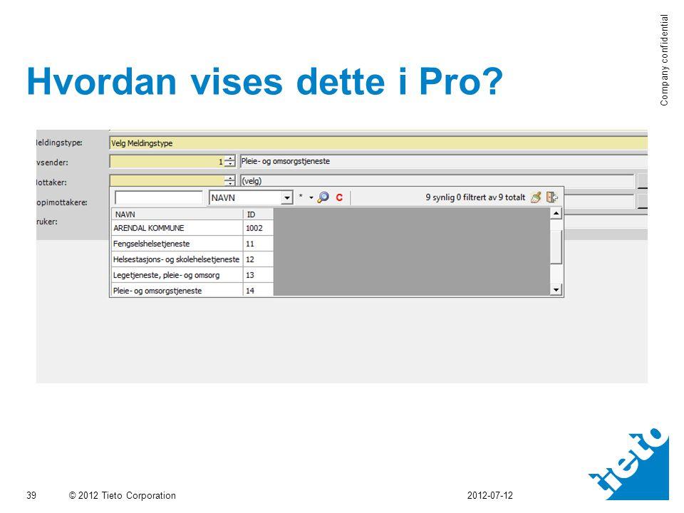 © 2012 Tieto Corporation Company confidential Hvordan vises dette i Pro? 39 2012-07-12