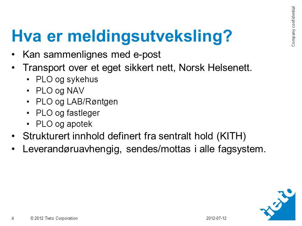 © 2012 Tieto Corporation Company confidential 5 Meldingsflyt Gerica Gerica/Legekontor/Sykehus… eLink Norsk Helsenett Kommune 1 MHS KITH MeldingMelding Kommune 2/Lege/Sykehus Forespørsel Har P.