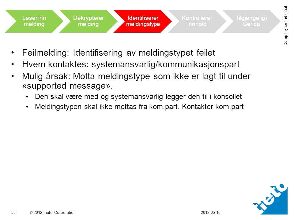 © 2012 Tieto Corporation Company confidential •Feilmelding: Identifisering av meldingstypet feilet •Hvem kontaktes: systemansvarlig/kommunikasjonspart •Mulig årsak: Motta meldingstype som ikke er lagt til under «supported message».