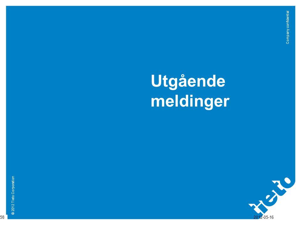 © 2012 Tieto Corporation Company confidential Utgående meldinger 58 2012-05-16