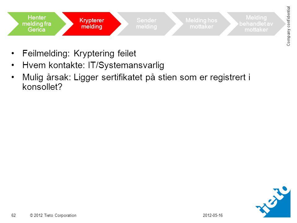 © 2012 Tieto Corporation Company confidential •Feilmelding: Kryptering feilet •Hvem kontakte: IT/Systemansvarlig •Mulig årsak: Ligger sertifikatet på stien som er registrert i konsollet.