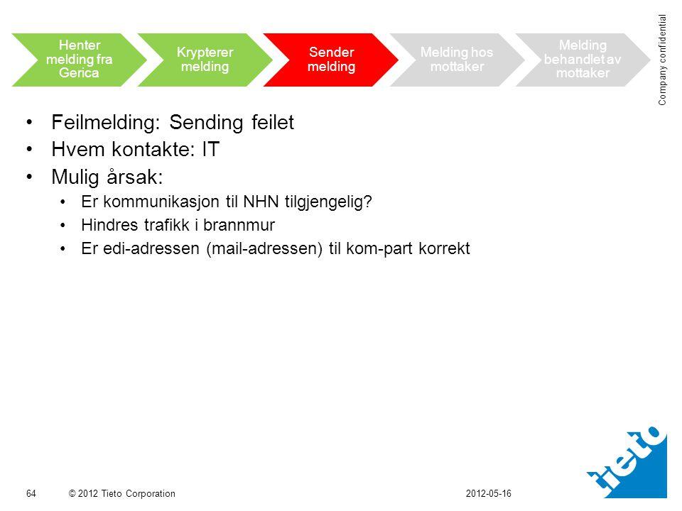 © 2012 Tieto Corporation Company confidential •Feilmelding: Sending feilet •Hvem kontakte: IT •Mulig årsak: •Er kommunikasjon til NHN tilgjengelig.