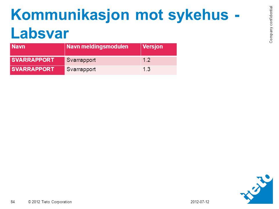 © 2012 Tieto Corporation Company confidential Kommunikasjon mot sykehus - Labsvar 84 2012-07-12 NavnNavn meldingsmodulenVersjon SVARRAPPORTSvarrapport1.2 SVARRAPPORTSvarrapport1.3