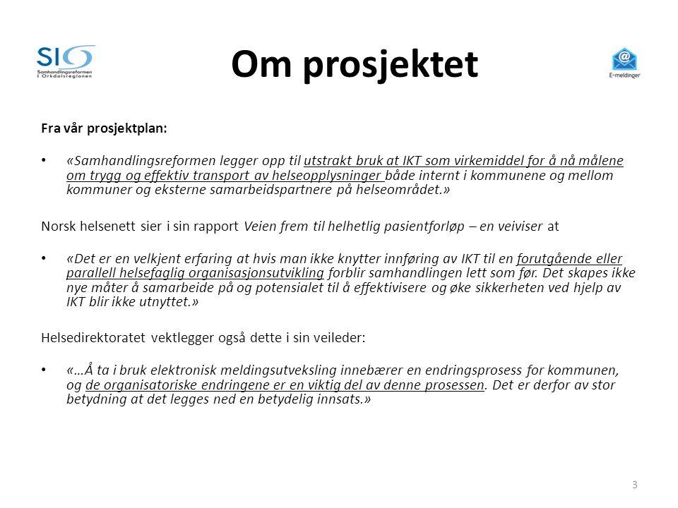 Utfordringsbildet - anbefalinger til videre prosess Ved prosjektslutt ble det gitt anbefalinger på følgende områder: • Manglende godkjenning av PLO-meldinger – et dilemma • Koblingen mot legekontor • Teknologiløpet • Samordning teknologi – HPH • Samordning mot IKT Orkidé • Forankring – på ledernivå lokalt og i styringen av SiO • Motivasjons- og opplæringsarbeid i kommunene • Samordning med Norsk helsenett ift.