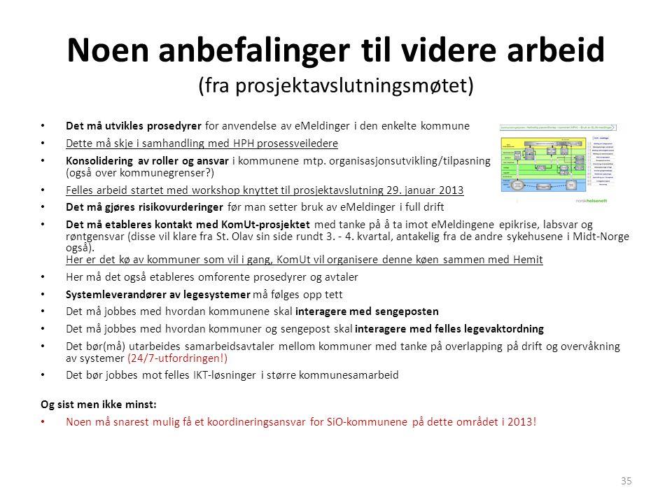 Noen anbefalinger til videre arbeid (fra prosjektavslutningsmøtet) • Det må utvikles prosedyrer for anvendelse av eMeldinger i den enkelte kommune • D