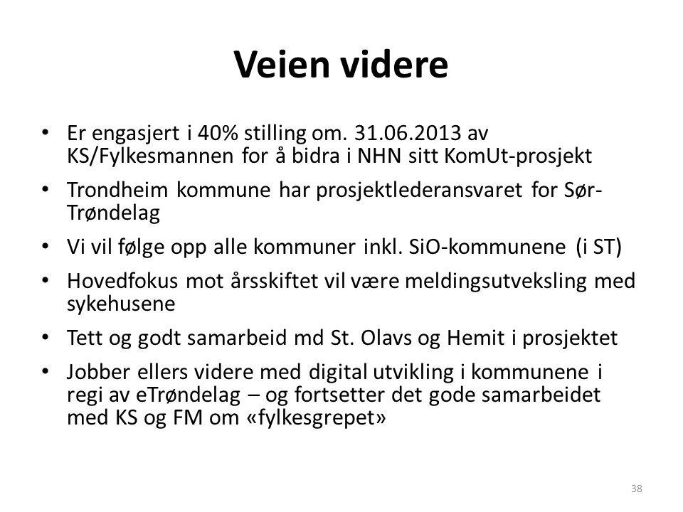 Veien videre • Er engasjert i 40% stilling om. 31.06.2013 av KS/Fylkesmannen for å bidra i NHN sitt KomUt-prosjekt • Trondheim kommune har prosjektled