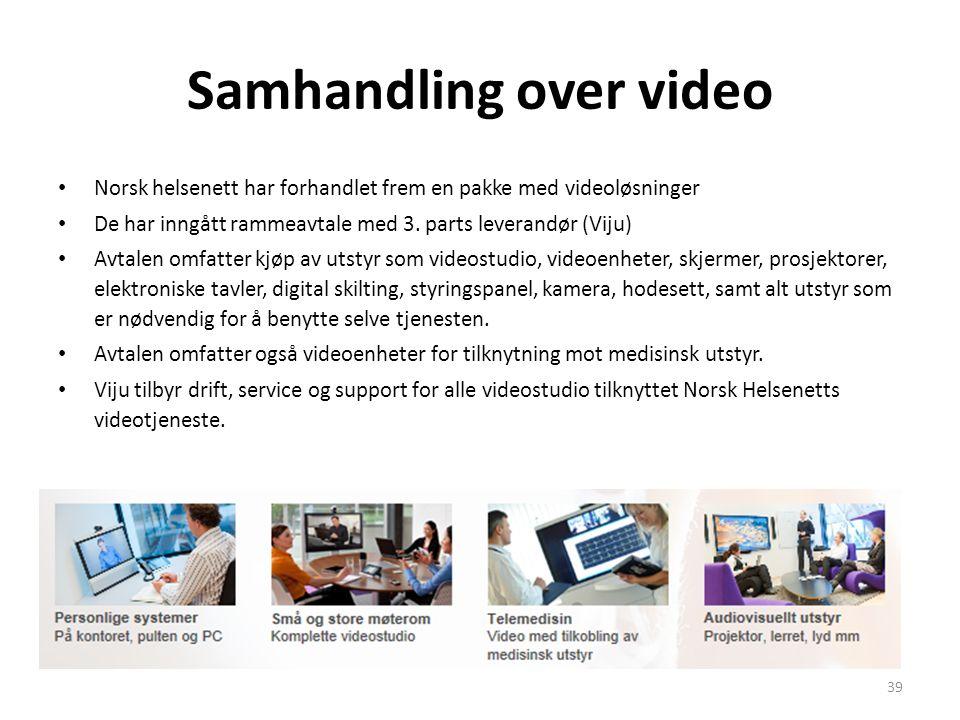 Samhandling over video • Norsk helsenett har forhandlet frem en pakke med videoløsninger • De har inngått rammeavtale med 3. parts leverandør (Viju) •