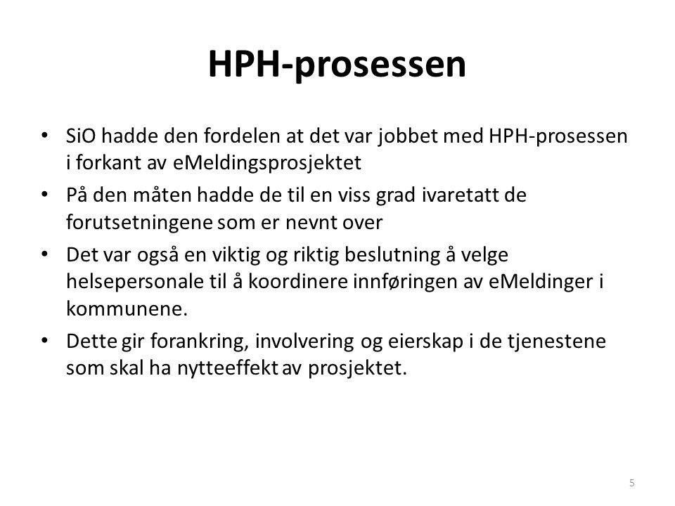 HPH-prosessen • SiO hadde den fordelen at det var jobbet med HPH-prosessen i forkant av eMeldingsprosjektet • På den måten hadde de til en viss grad i