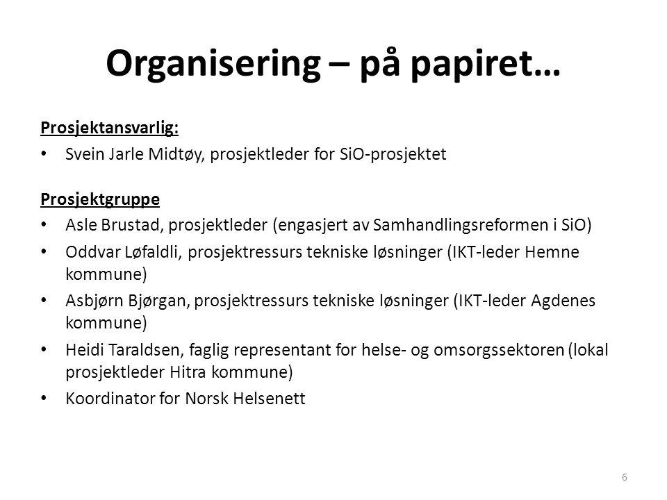 Organisering – på papiret… Prosjektansvarlig: • Svein Jarle Midtøy, prosjektleder for SiO-prosjektet Prosjektgruppe • Asle Brustad, prosjektleder (eng