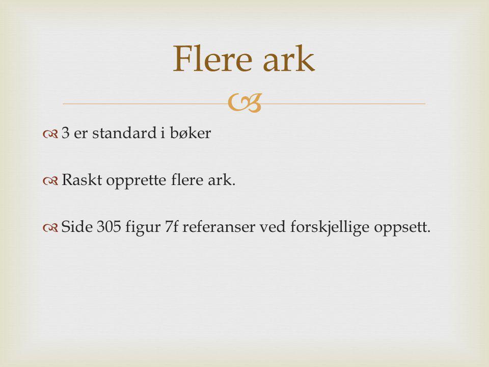   3 er standard i bøker  Raskt opprette flere ark.  Side 305 figur 7f referanser ved forskjellige oppsett. Flere ark
