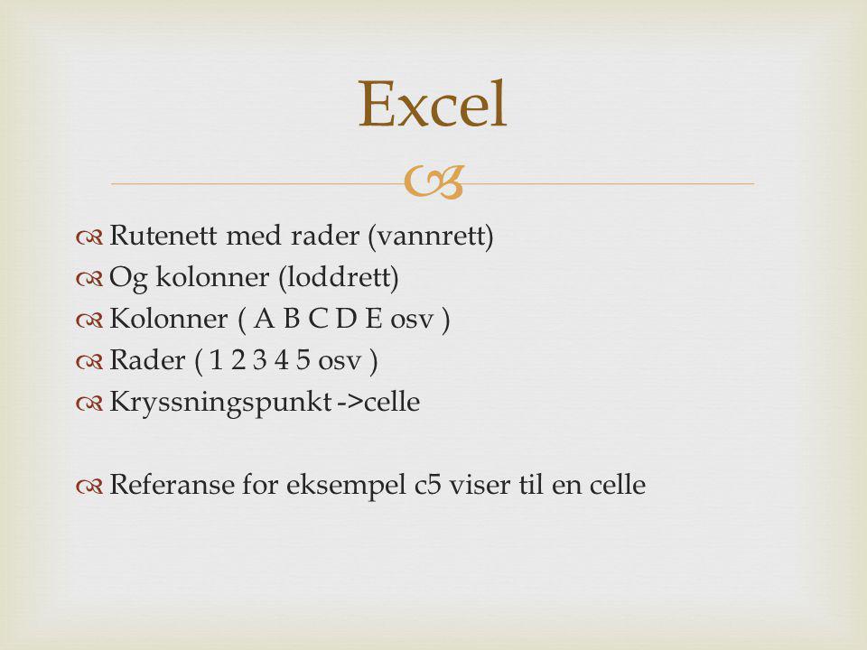   Rutenett med rader (vannrett)  Og kolonner (loddrett)  Kolonner ( A B C D E osv )  Rader ( 1 2 3 4 5 osv )  Kryssningspunkt ->celle  Referans