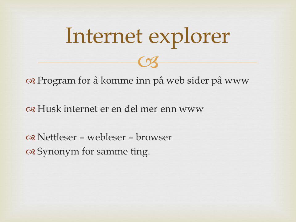   Program for å komme inn på web sider på www  Husk internet er en del mer enn www  Nettleser – webleser – browser  Synonym for samme ting. Inter
