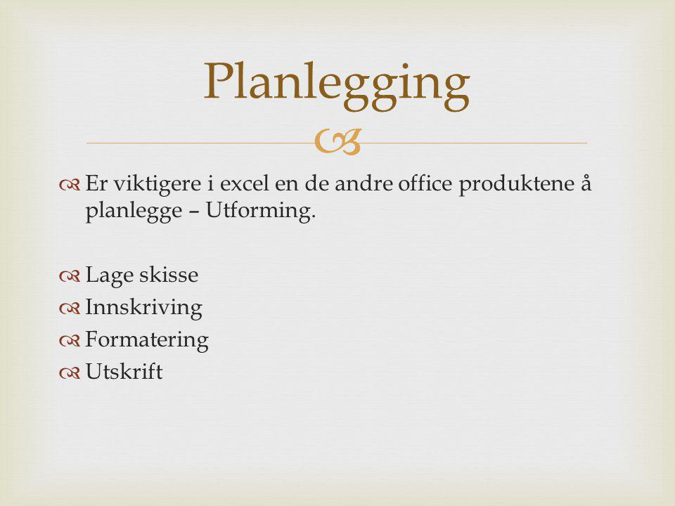   Er viktigere i excel en de andre office produktene å planlegge – Utforming.  Lage skisse  Innskriving  Formatering  Utskrift Planlegging
