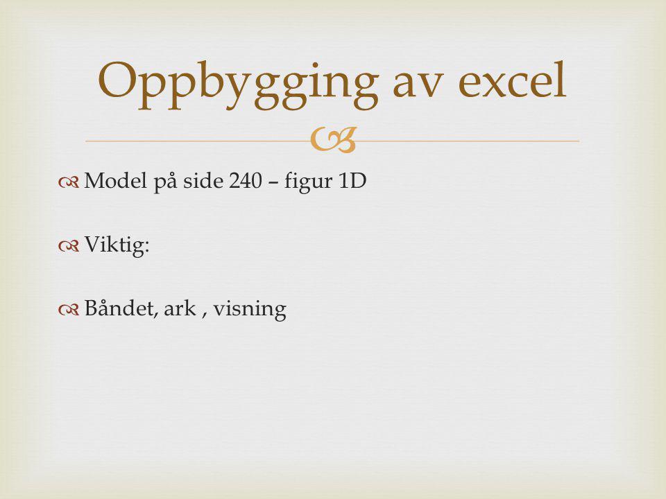   Model på side 240 – figur 1D  Viktig:  Båndet, ark, visning Oppbygging av excel