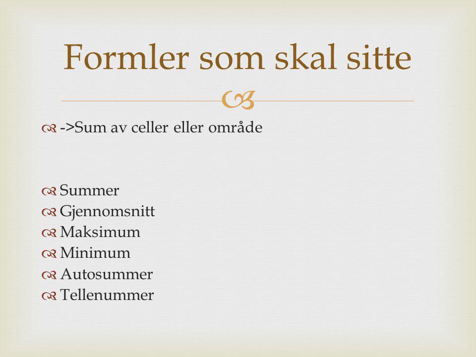   ->Sum av celler eller område  Summer  Gjennomsnitt  Maksimum  Minimum  Autosummer  Tellenummer Formler som skal sitte
