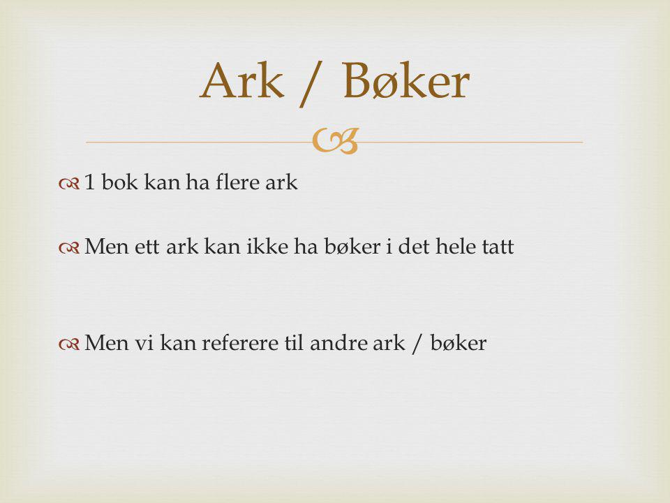   1 bok kan ha flere ark  Men ett ark kan ikke ha bøker i det hele tatt  Men vi kan referere til andre ark / bøker Ark / Bøker