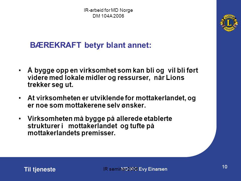 MD IRC Evy Einarsen IR-arbeid for MD Norge DM 104A 2006 IR seminar 2006 10 BÆREKRAFT betyr blant annet: •Å bygge opp en virksomhet som kan bli og vil