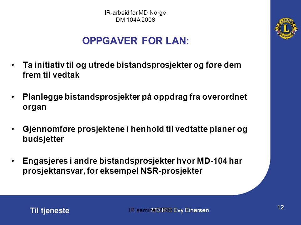MD IRC Evy Einarsen IR-arbeid for MD Norge DM 104A 2006 IR seminar 2006 12 OPPGAVER FOR LAN: •Ta initiativ til og utrede bistandsprosjekter og føre de