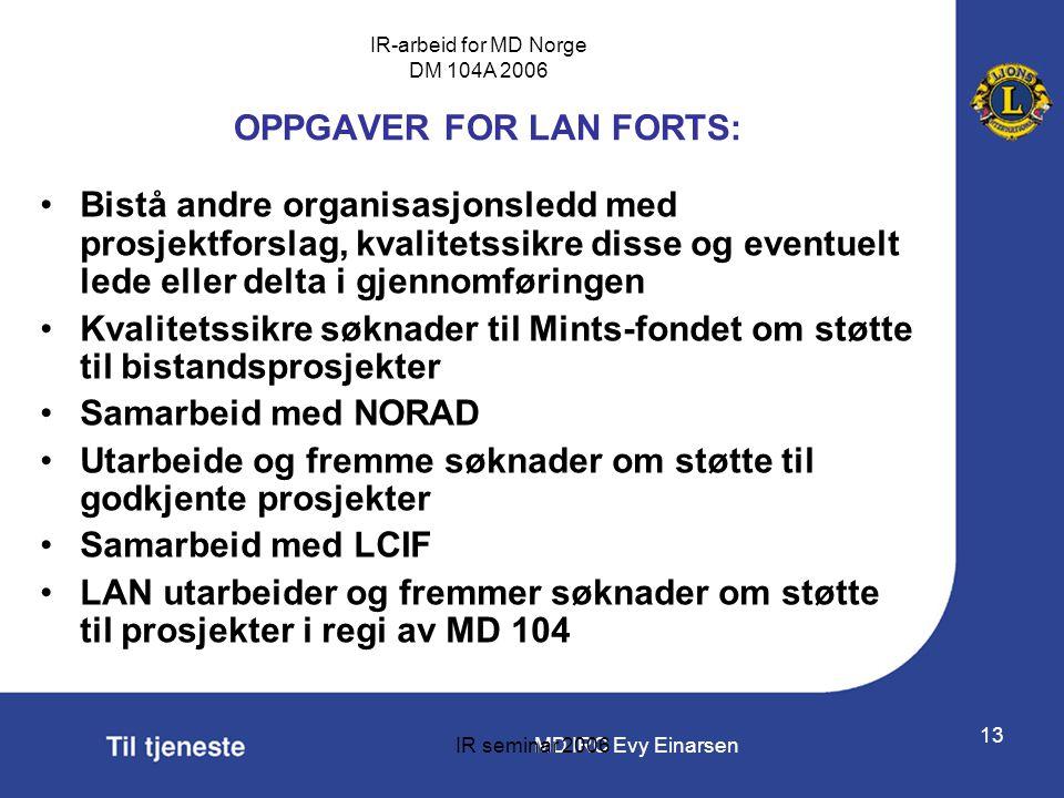 MD IRC Evy Einarsen IR-arbeid for MD Norge DM 104A 2006 IR seminar 2006 13 OPPGAVER FOR LAN FORTS: •Bistå andre organisasjonsledd med prosjektforslag,
