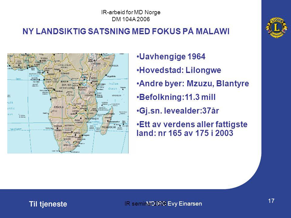 MD IRC Evy Einarsen IR-arbeid for MD Norge DM 104A 2006 IR seminar 2006 17 NY LANDSIKTIG SATSNING MED FOKUS PÅ MALAWI •Uavhengige 1964 •Hovedstad: Lil