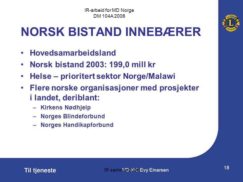 MD IRC Evy Einarsen IR-arbeid for MD Norge DM 104A 2006 IR seminar 2006 18 •Hovedsamarbeidsland •Norsk bistand 2003: 199,0 mill kr •Helse – prioritert