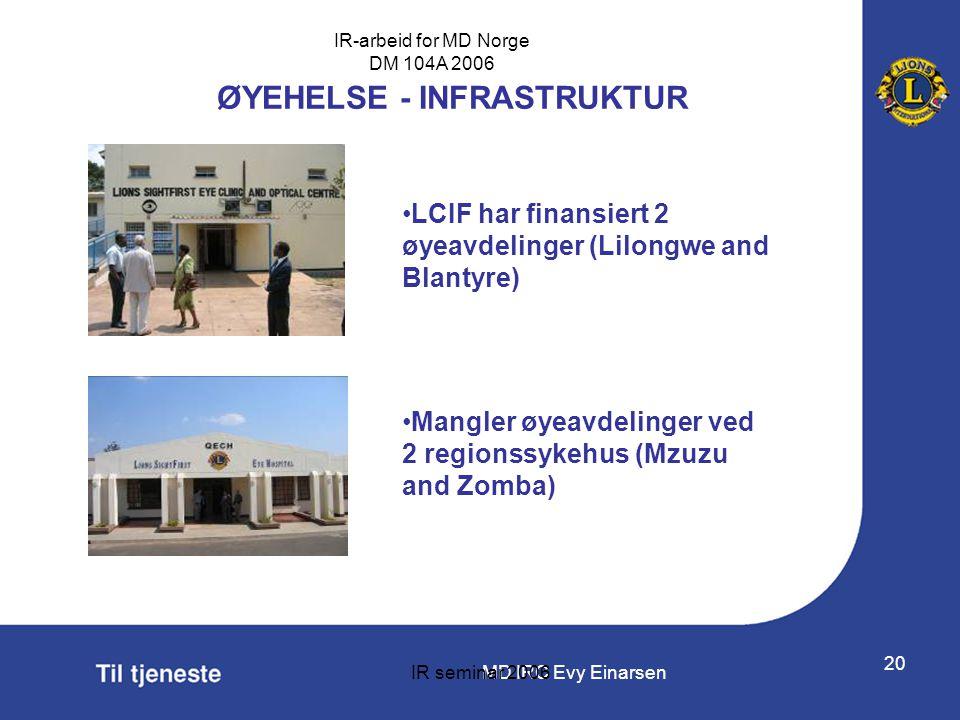 MD IRC Evy Einarsen IR-arbeid for MD Norge DM 104A 2006 IR seminar 2006 20 ØYEHELSE - INFRASTRUKTUR •LCIF har finansiert 2 øyeavdelinger (Lilongwe and